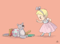 Teddy bear and little girl in pink